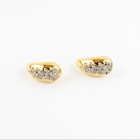 Pave Crystal Rhinestone Semi Half Hoop Earrings